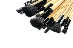 Various professional makeup brushes isolated Stock Photography