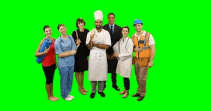 Various professional standing against green screen. Portrait of various professional standing against green screen stock footage