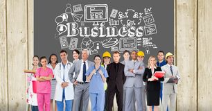 Various professionals standing against business text and icons Stock Images