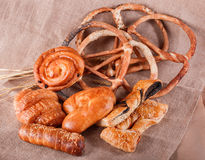 Various Puff pastry, Croissants, buns and pies, Pretzels Royalty Free Stock Photos