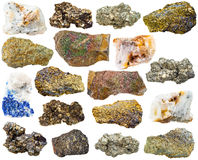 Various pyrite mineral gem stones and rocks Royalty Free Stock Photo