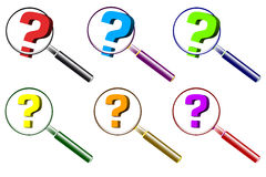 Various question mark and magnifier Stock Photos