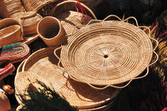 Various rattan containers put for sale in market fair. Stock Photos