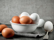 Various raw chicken eggs Stock Photos