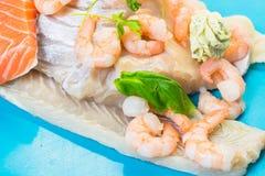 Various raw fish species Royalty Free Stock Image