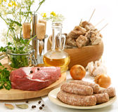 Various raw meat and sausages Royalty Free Stock Image