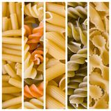 Various raw pasta collage. Collection of various raw pasta collage Stock Photo