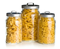 Various raw pasta in glass jar Royalty Free Stock Photo