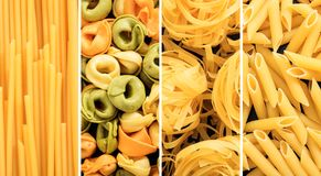 Various raw pasta shapes collage Royalty Free Stock Photography