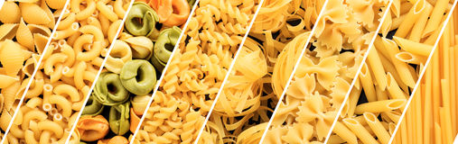 Various raw pasta shapes collage Stock Photos