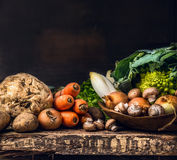 Various of raw vegetables and field mushroom on old dark wooden Royalty Free Stock Photography