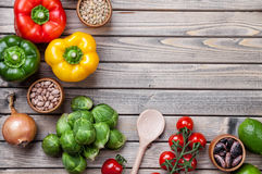 Various raw vegetables fruits and herbs Royalty Free Stock Photo
