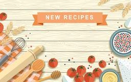 Various recipe ingredients in flat design Stock Photo