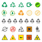 Various recycle and hazardous sign set. Vector various ecology and dangerous signs Stock Photography