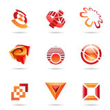 Various red abstract icons, Set 10. Various red abstract icons isolated on a white background Royalty Free Stock Photography