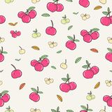 Various Red Cherry Seamless pattern stock illustration