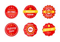 Various Red Discount Sale Tag Icons Stock Image