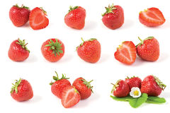 Various red strawberry. Fruits with green leaves isolated on white background royalty free stock photos
