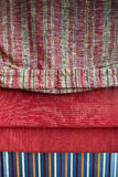 Various red sunblinds. Set of various red canvas an fabric sunblinds Stock Photo