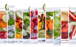 Various refreshing infused water from tropical fruit Royalty Free Stock Photo