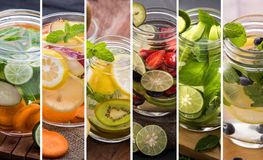 Various refreshing infused water from tropical fruit Stock Photos