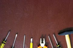 Various repair tools. Equipment for building. White background top view copy space royalty free stock photos