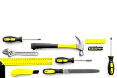 Various repair tools. Must-have for men. Equipment for building. White background top view copy space pattern. Various repair tools. Must-have for men. Equipment Royalty Free Stock Images