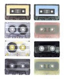 Various retro audio cassettes isolated on white background Royalty Free Stock Images