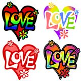 Various Retro Love Valentine Hearts 2. A clip art illustration featuring 4 colorful retro style hearts with the word 'love'  in original font and a few random Stock Photography