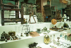 Various retro objects displayed in showcases in London Science Museum. Londons Science Museum is located in South Kesington and is the place that hosts one of Royalty Free Stock Photos