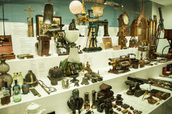 Various retro objects displayed in showcases in London Science Museum. Londons Science Museum is located in South Kesington and is the place that hosts one of Royalty Free Stock Images