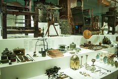 Various retro objects displayed in showcases in London Science Museum. Londons Science Museum is located in South Kesington and is the place that hosts one of Stock Image