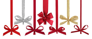 Various ribbons with bows for christmas balls. Stock Images