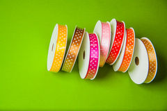 Various ribbons. For decor and sewing with empty copy space Royalty Free Stock Photo