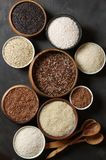 Various rice in bowls Stock Photo
