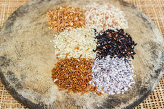 Various rice types each within an individual pile on rustic wood Royalty Free Stock Photography
