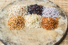 Various rice types each within an individual pile on rustic wood Stock Image