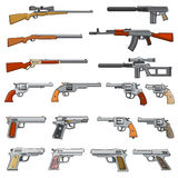 Various rifle, guns and pistols cartoon vector weapons icons Stock Images
