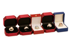 Various rings in boxes Stock Photos