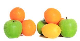 Various ripe fruits. All on white background stock photo