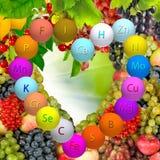 Various ripe fruits and berries closeup Stock Photography