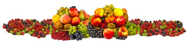 Various ripe fruits on white background Stock Image