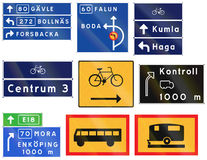 Various Road signs used in Sweden Royalty Free Stock Images