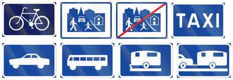 Various Road signs used in Sweden Stock Photos