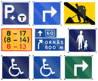 Various Road signs used in Sweden Royalty Free Stock Photos