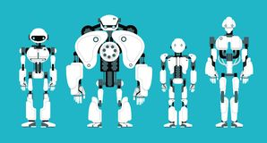 Various robot androids. Cute cartoon futuristic humanoid characters set. Android friendly character, robotic technology vector illustration stock illustration