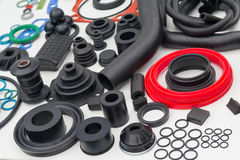 Various rubber products and sealing products at the exhibition s. Tand. Industry Royalty Free Stock Photo