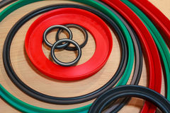 Various rubber products and sealing products Stock Photo