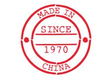 Various Rubber Stamp Made in China. Series of Various Rubber Stamp Made in China Since 1970 Royalty Free Stock Image