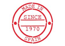 Various Rubber Stamp Made in Spain. Series of Various Rubber Stamp Made in Spain Since 1970 Royalty Free Stock Photo